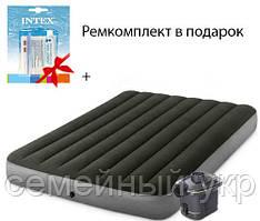 Двухместный надувной матрас 203x152x25 см. Нагрузка: 273 кг. Электронасос на батарейках intex 64779
