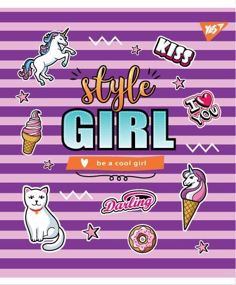 "Тетрадь для записей А5/24 кл.  YES ""STYLE GIRL"" мат. ВДЛ+софт-тач+глиттер"