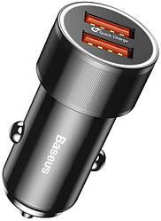 Автомобильное зарядное устройство Baseus Small Screw 2USB QC Car Charger 36W Black