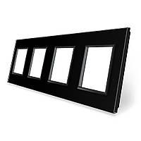 Рамка розетки Livolo 4 поста черный стекло (VL-C7-SR/SR/SR/SR-12), фото 1