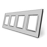 Рамка розетки Livolo 4 поста серый стекло (VL-C7-SR/SR/SR/SR-15), фото 1