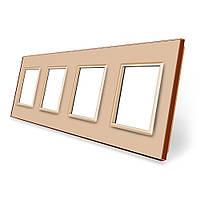 Рамка розетки Livolo 4 поста золото стекло (VL-C7-SR/SR/SR/SR-13), фото 1