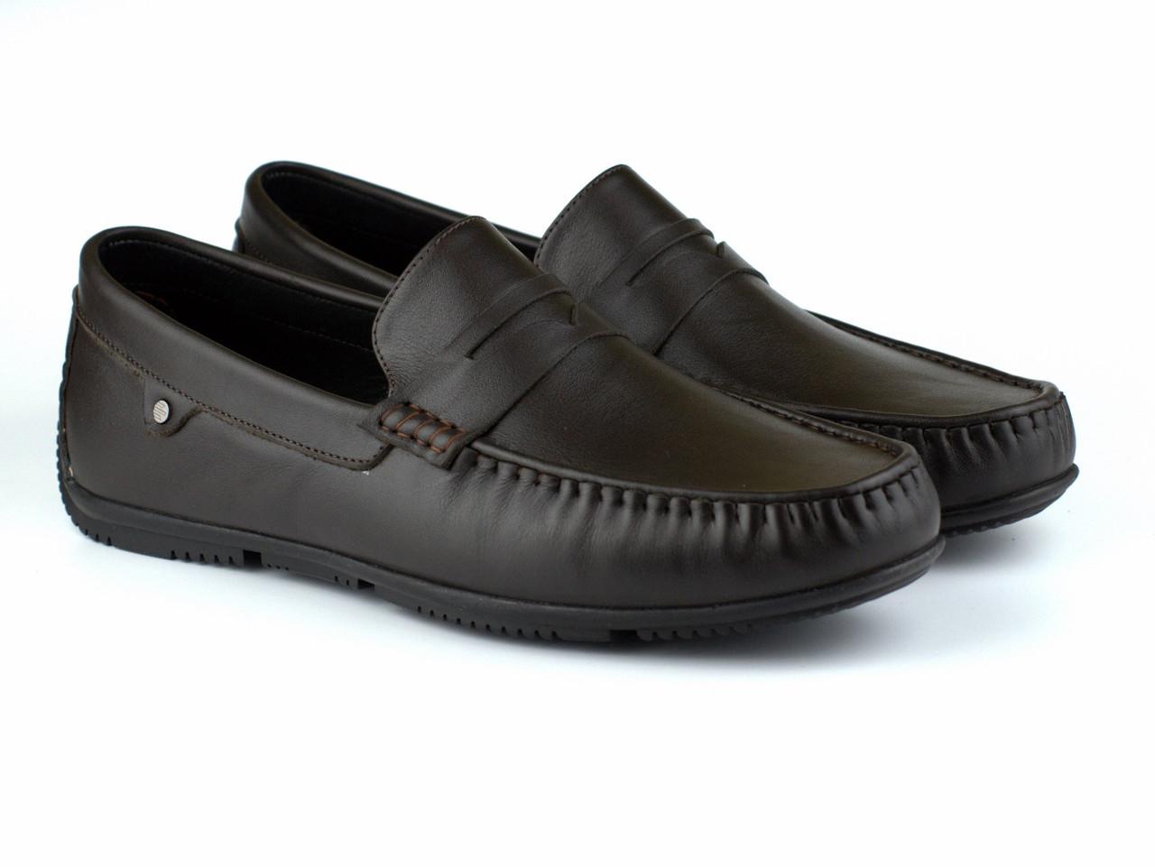 Шкіряні мокасини чорно-коричневі чоловіче взуття великих розмірів ETHEREAL BS Black Brown by Rosso Avangard