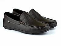 Шкіряні мокасини чорно-коричневі чоловіче взуття великих розмірів ETHEREAL BS Black Brown by Rosso Avangard, фото 1