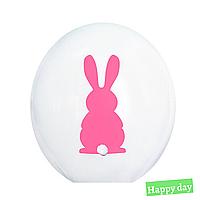 """Куля 12"""" (30 см) Рожевий зайчик на білому + хвостик (Kalisan) 1шт."""