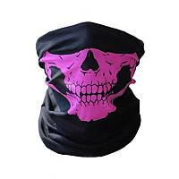 Бафф маска з малюнком черепа (Щелепа) Рожева, Унісекс, фото 1