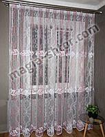 Тюль розовая с вышивкой, фото 1