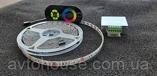 LED лента  SMD5050-60 12V IP20 Стандарт RGB   (5 метрів ленти , пультом сенсор)