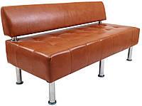 Диван Офис двойка со спинкой коричневый