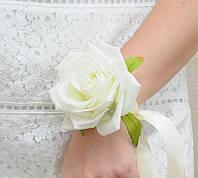 Бутоньерка роза белая айвори на руку (разные цвета), фото 1