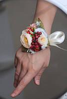 """Бутоньерка с цветами  на руку""""Ягоды""""(разные цвета), фото 1"""