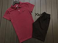 Мужской летний  костюм комплект футболка поло+шорты с логотипом