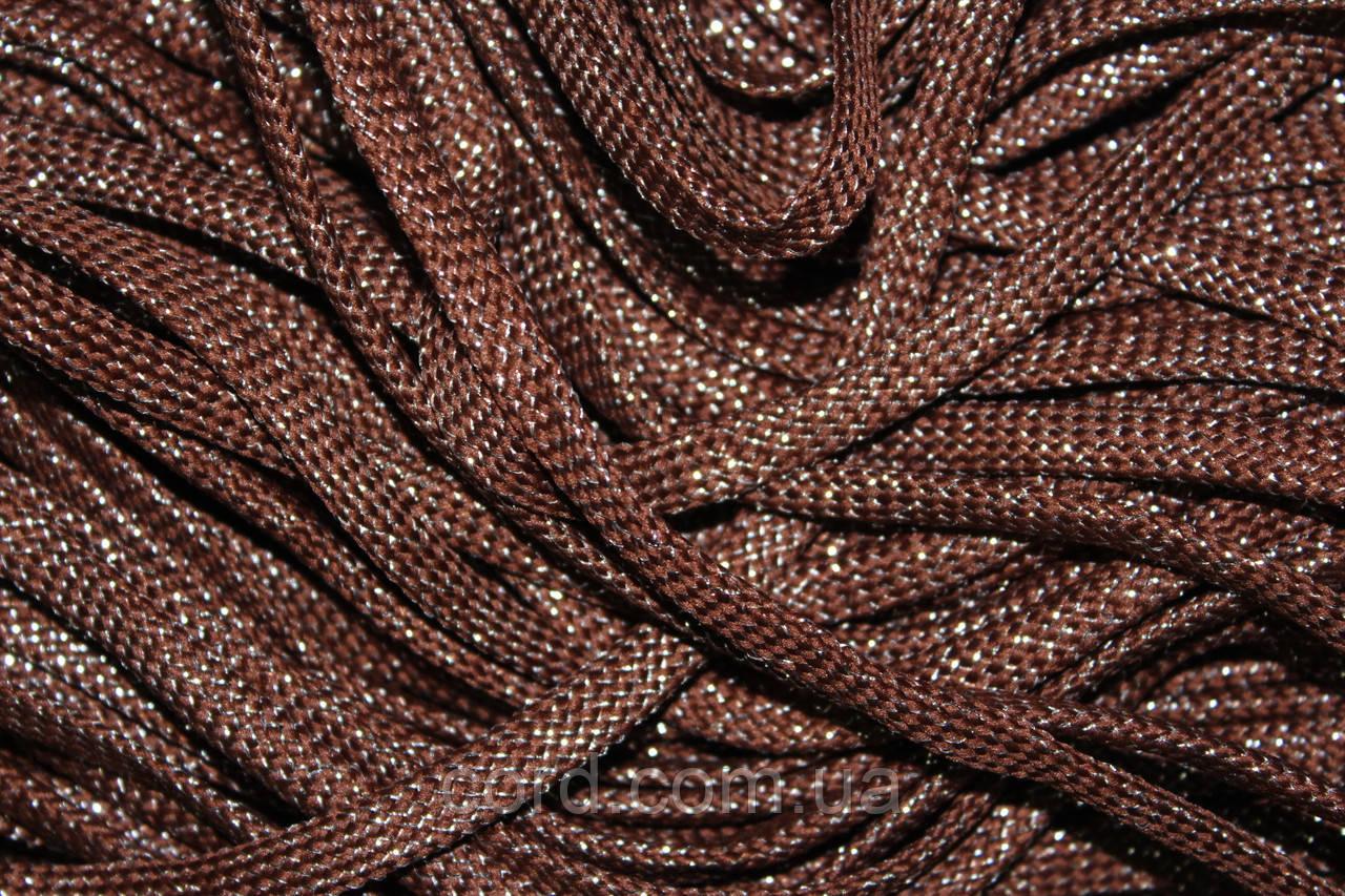 Шнур плоский чехол 8мм (100м) коричневый с серебром