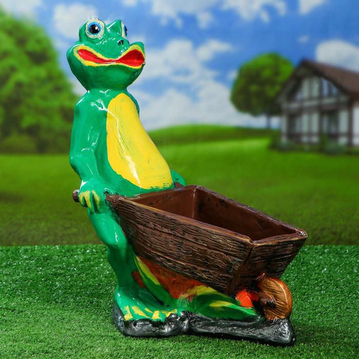 Садова жаба з возом 44 см гіпс
