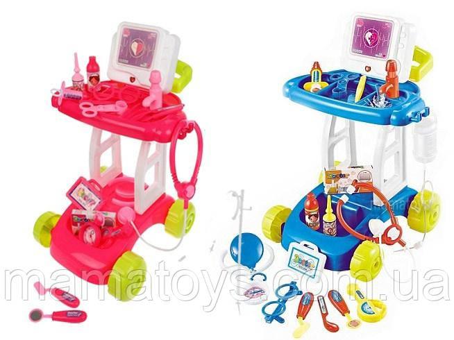 Игровой набор Доктора 8125-1-2 Тележка на колесах 18 предметов, звук, свет, кран с водой, 2 в