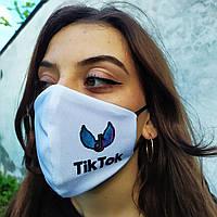 Маска многоразовая тканевая защитная Белая двухслойная с принтом  TikTok