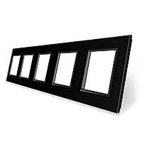 Рамка розетки Livolo 5 постов черный стекло (VL-C7-SR/SR/SR/SR/SR-12), фото 1