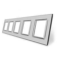 Рамка розетки Livolo 5 постов серый стекло (VL-C7-SR/SR/SR/SR/SR-15), фото 1