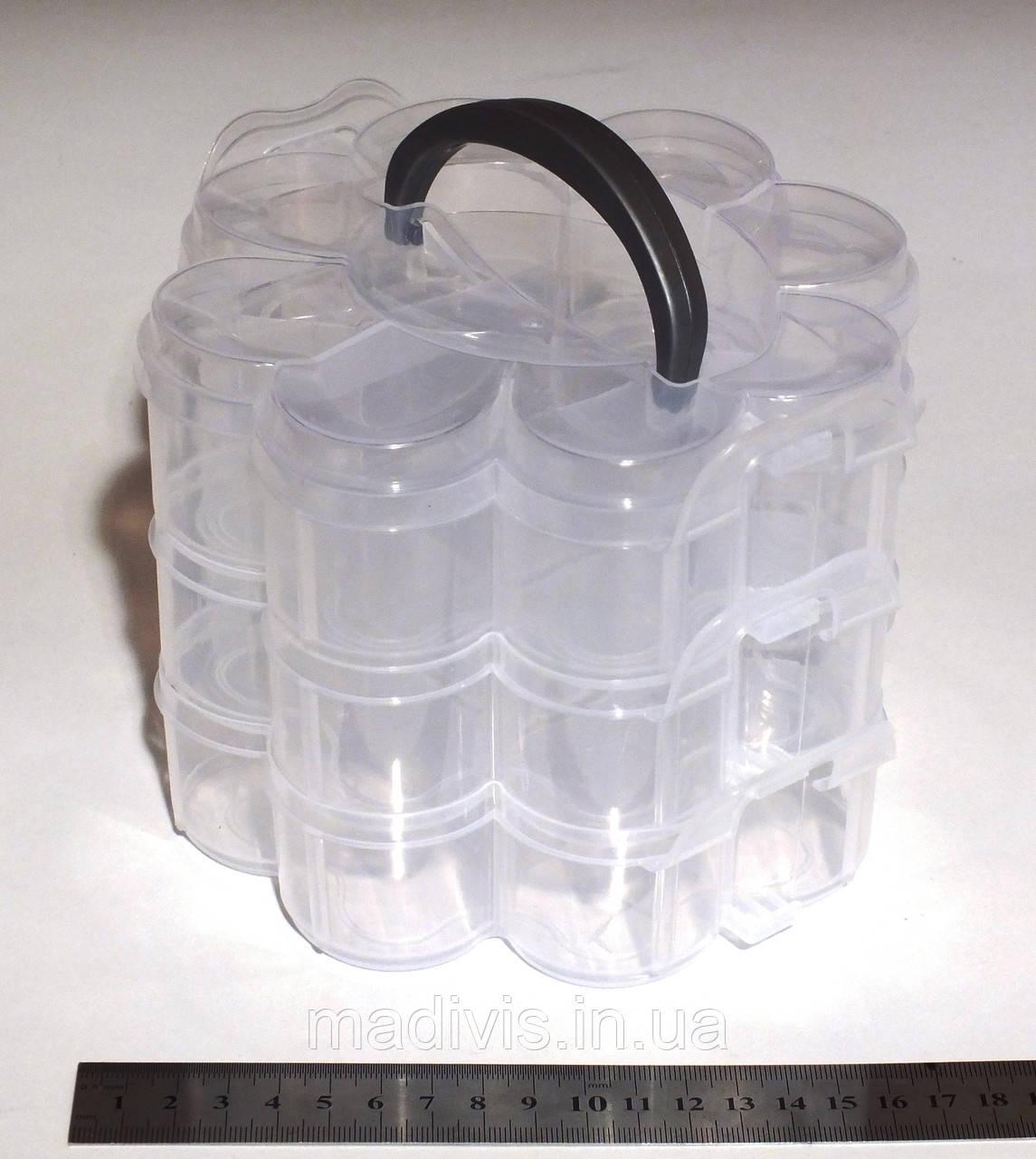"""Бокс органайзер для рукоделия прозрачный  """"Цветок"""" (15 отделении). 16 х 15 х 13 см."""