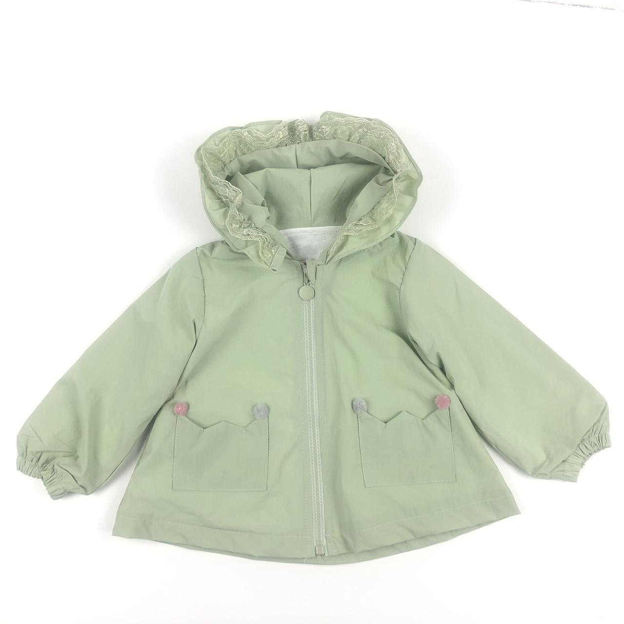 Куртка дитяча вітровка для дівчинки, зелена, вертовка  для девочки зеленая