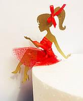 """Великий топпер """"Золотий Силует дівчини в червоному платті"""" дерево в торт з шифоном. 15 см без підставки"""
