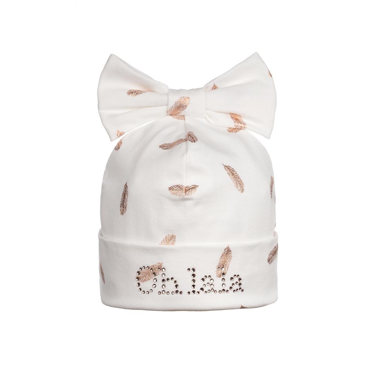 Шапка для девочки с перьями - белая GIAMO  (42-50)   CAG04
