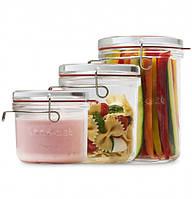 Набор стеклянных банок Lock Eat для сыпучих продуктов, 3 шт