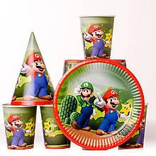 Набор детской одноразовой посуды  супер марио