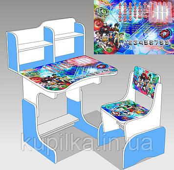 """Парта школьная """"Бейблэйд ЛДСП ПШ 037 (69*45 см), цвет бело-голубой + 1 стул"""