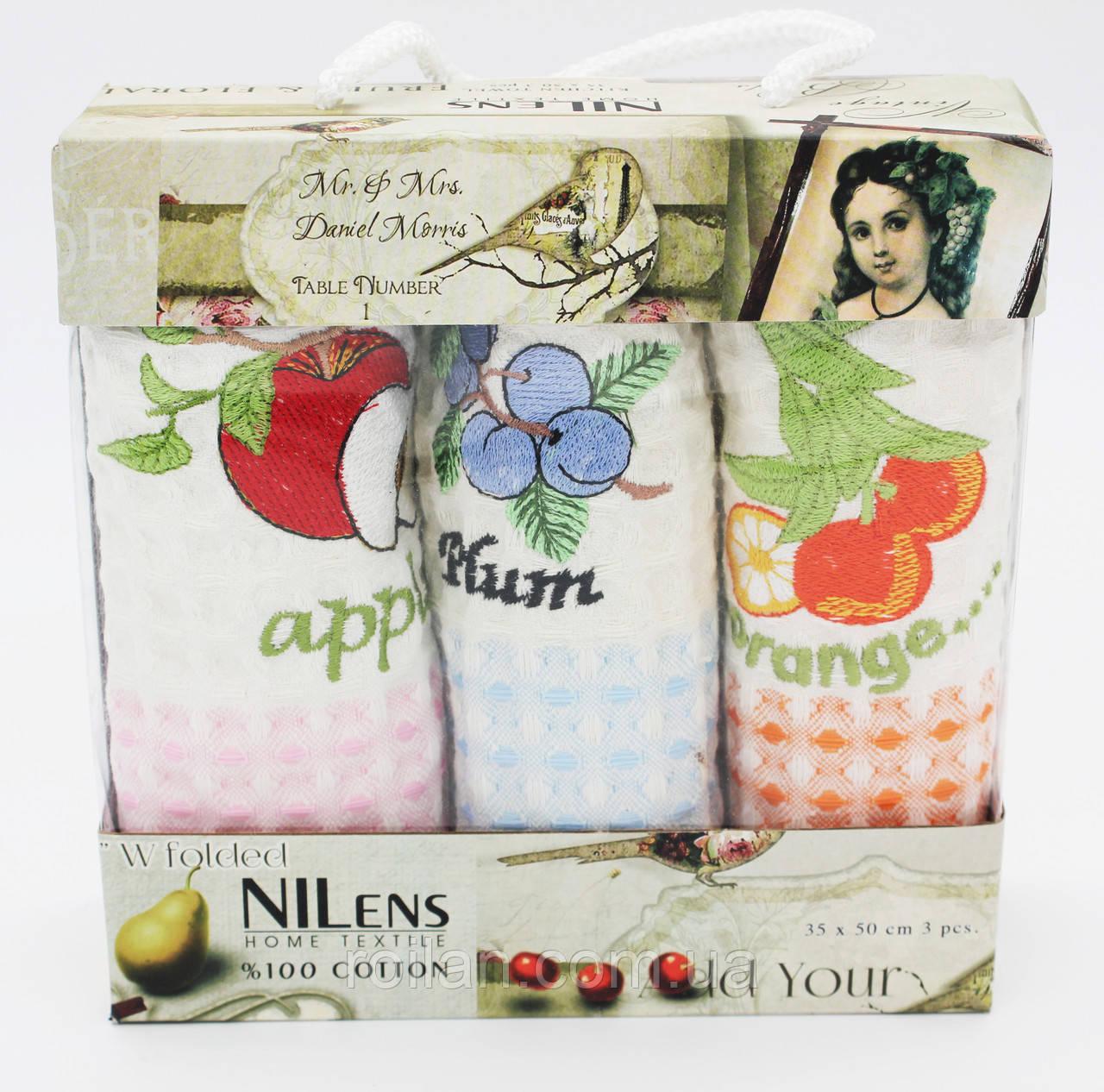 Набор турецких кухонных полотенец Nilteks Фрукти 3 ка