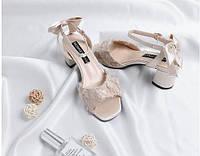 Элегантные атласные босоножки на каблуке с бантиком, 39-40