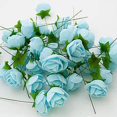 Роза (квітка) з латексу блакитна 3,5 см