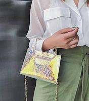 Оригинальная сумка с ручками котиками и радужным переливом