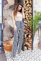 Стильні штани в смужку з завищеною талією, арт 197, темно синя смужка