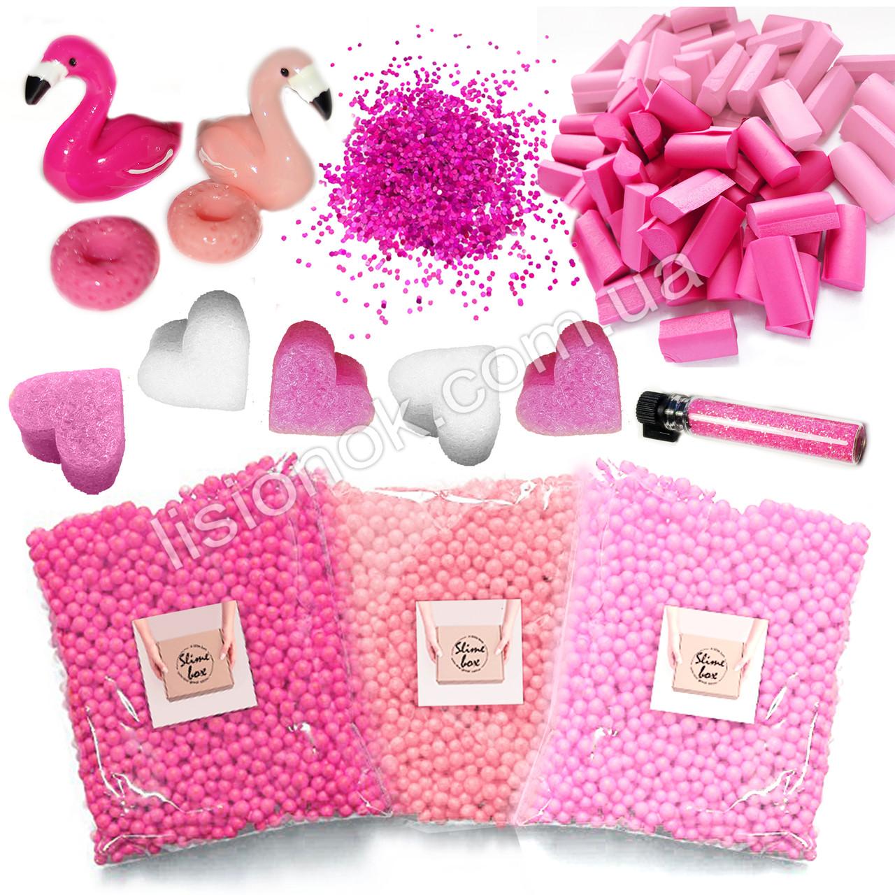 """Slime box """"Фламинго"""" набор добавок для слайма: шармики, пенопласт, фоам чанкс, глиттер, сердечки"""