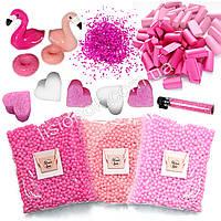 """Slime box """"Фламинго"""" набор добавок для слайма: шармики, пенопласт, фоам чанкс, глиттер, сердечки, фото 1"""