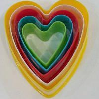 """Резаки пластиковые""""Сердечки""""(набор 5 шт)"""
