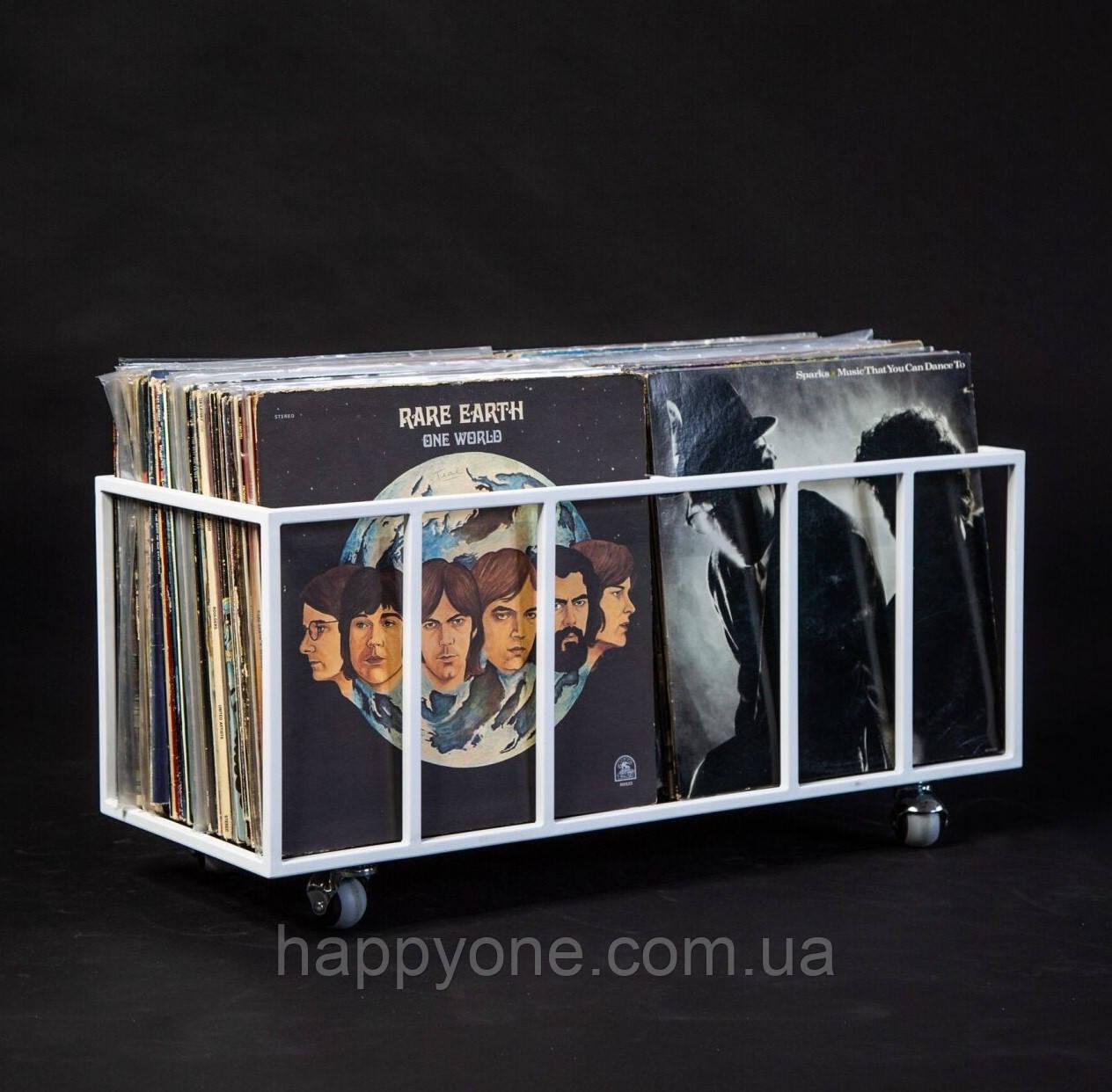 Дворядний контейнер для зберігання вінілових пластинок (білий)