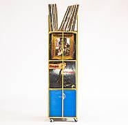 Металевий контейнер для зберігання пластинок 4-х поверховий (жовтий), фото 3