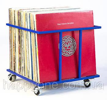 """Металлический контейнер для хранения виниловых пластинок """"Модель II"""" (синий)"""
