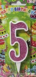 Свічки для торта цифра 5 рожева