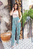Стильні штани в смужку з завищеною талією, арт 197, зелена смужка