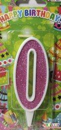 Свічки для торта цифра 0 рожева