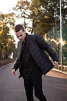 Куртка-пуховик мужская демисезонная без капюшона, повседневный стиль. Цвет черный!
