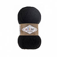 Пряжа 60 Alize Alpaca Royal, 100гр - 250м (чёрная)