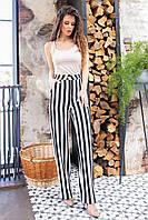 Стильні штани в смужку з завищеною талією, арт 197, чорна смужка