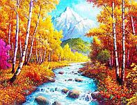 50х40 см алмазная мозаика ОСЕНЬ вышивка картина мозаїка діамантова вишивка осінь гірська річка 50 х 40