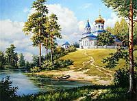 50х40 см алмазная мозаика ХРАМ НА ХОЛМЕ вышивка картина мозаїка діамантова вишивка церковь гора лес 50 х 40