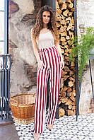 Стильні штани в смужку з завищеною талією, арт 197, червона смужка