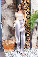 Стильні штани в смужку з завищеною талією, арт 197,сіра смужка